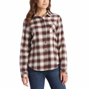 Pendleton Womens Flannel Shirt Top Button-up Brown